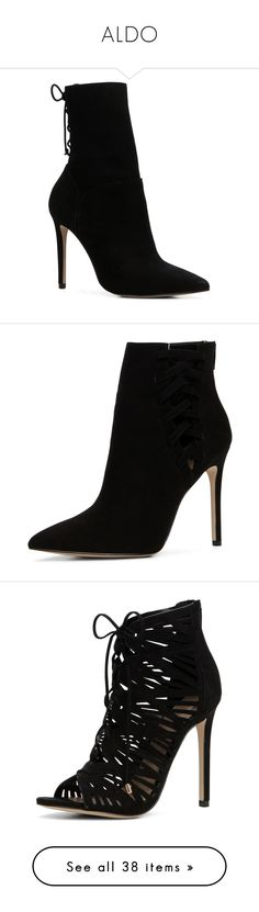 """""""ALDO"""" by tina-teena ❤ liked on Polyvore featuring shoes, boots, ankle booties, aldo shoes, aldo footwear, aldo, aldo boots, booties, leather high heel boots and leather bootie"""