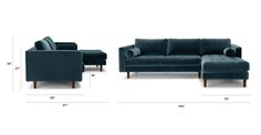 Sven Pacific Blue Right Sectional Sofa - Sectionals - Article | Modern, Mid-Century and Scandinavian Furniture