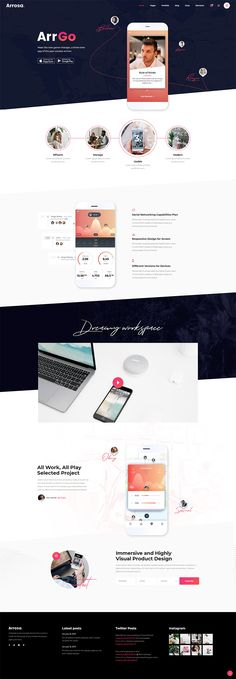 Made for any digital business or tech startup, Arrosa WordPress theme is packed with all the layouts you can need for an eye-catching website. Web Design Trends, Web Design Inspiration, App Design, Layout Design, All Themes, Business Presentation, Start Up Business, Creative Business, Wordpress Theme
