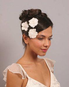 set of three bridal flower hair clips by aurora rose bridal | notonthehighstreet.com