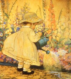 "Illustration by Jessie Willcox Smith- ""Watering the Foxglove"" Art And Illustration, American Illustration, Girl Illustrations, Vintage Pictures, Vintage Images, Vintage Prints, Vintage Art, Jessie Willcox Smith, Mellow Yellow"