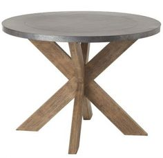 Halton Galvanized Metal Natural Wood Base Round Dining Kitchen Table Arteriors Home Entry Table Industrial Chic Eclectic Dining Tables, Dining Table In Kitchen, Round Kitchen, Round Entry Table, Round Coffee Table, Entryway Tables, Circle Table, Wood Table, Zinc Table