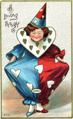 Super-cute vintage Victorian-era Valentine with silly clown with hat and hearts. One of more than 100 #vintage victorian-era #valentines available from piddix for licensing. PDXC8377