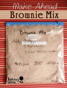 Homemade Brownie Mix To die for homemade brownie mix. Double or triple the batch and have on hand for a quick dessert!To die for homemade brownie mix. Double or triple the batch and have on hand for a quick dessert! Homemade Cake Mixes, Homemade Brownie Mix, Homemade Brownies, Homemade Spices, Homemade Seasonings, Homemade Food Gifts In A Jar, Boxed Brownies, Homemade Sweets, Homemade Chocolate