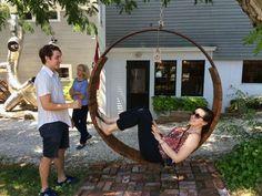 Repurposed wood and metal swing
