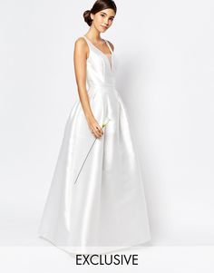 Chi Chi London Bridal Maxi Dress with Plunge Front and Keyhole Back Detail