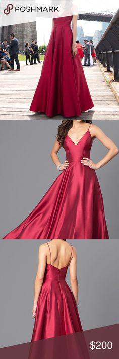 Jovani Wine Red Long Vneck Satin Prom Dress Beautiful long red wine JVN Jovani dress! Worn once  No flaws Originally $298  I'm 5'5 & wore 1.25 inch heels (Waist 24), tailored to this  Tags: Sherri Hill, Jovani, David's Bridal, low back, vneck, off the shoulder, skinny straps, chiffon, ballgown, aline, small, xsmall, prom, wedding, bridesmaid, formal, gown, promgirl, purple, deep red, burgandy, lulu's Jovani Dresses Prom