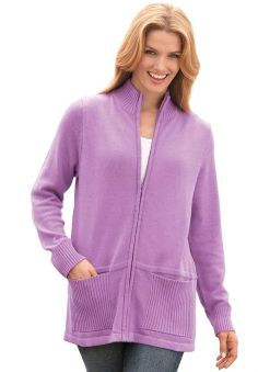 Amazon.com: Woman Within Women's Plus Size Zip-Front Sweater Jacket: Clothing