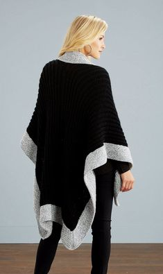 Stylish and comfy! Kit to knit includes Starlette and Starlette Ragg yarns. Shown in Starlette Black and Grey Ragg. Weather Seasons, Cold Weather, Ladies Poncho, Craft Patterns, Bell Sleeve Top, Comfy, Kit, Knitting, Stylish