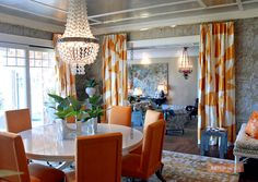 Room of the Week - coco kelley Doorway Curtain, Window Curtains, Beautiful Dining Rooms, Glass Dining Table, Showcase Design, Interior Accessories, My Dream Home, Great Rooms, Family Room