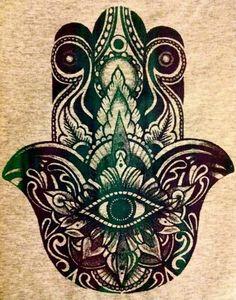 Illustration art hippie indie hand all seeing eye meditation yoga meditate folk intricate hindu hamsa hand of fatima eye in hand hamesh hand