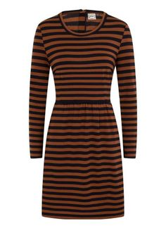 The Gigi Breton Stripe Dress is a brown and navy striped stretch jersey dress with long sleeves, a crew neckline and pockets. Long Sleeve Striped Dress, Stripe Dress, Joanie Clothing, Slogan Tops, Vintage Inspired Outfits, Navy Stripes, High Neck Dress, Brown, Inspiration