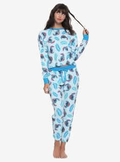 Disney Lilo   Stitch Leaves With Stitch Girls Thermal Pajama Set 9bb1c786f