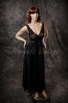 7ff792e01e Vintage Olga Nightgown Lingerie Black Lace Twist by MarvelsVintage Vintage  Wear