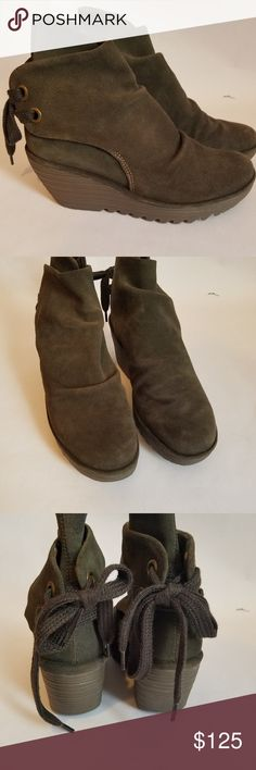 Fly London Yama Wedge Ankle Boots Fly London 'Yama' Suede Sage Green Wedge Ankle Boots. Size 38, US Size 8. EUC. Behind ankle Tie. Fly London Shoes Ankle Boots & Booties