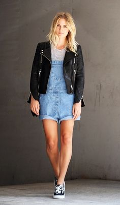 dungarees street style black - Google Search