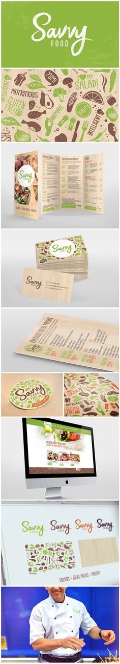 Logo and branding for company that sells salads, and meat packsHand-drawn logo and pattern