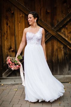 Gorgeous one shoulder Mira Zwillinger wedding dress: http://www.stylemepretty.com/pennsylvania-weddings/holicong/2016/05/27/this-elegant-farm-wedding-is-an-absolute-must-see/   Photography: Asya Photography - http://asyaphotography.com/