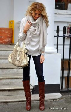 Loose sweater, bunchy scarf in slightly different color. | Fashion World
