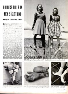 College girls in men's clothing, Life magazine, September 1940. #vintage #fashion #1940s
