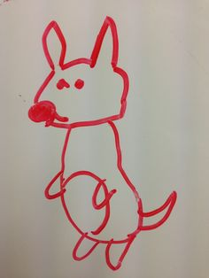 A kangaroo that one of my students drew on the board.