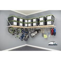 Garage Storage Shelves, Overhead Garage Storage, Garage Storage Solutions, Bin Storage, Garage Shed, Garage Walls, Garage Entryway, Garage Office, Garage Bedroom