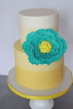 Yellow & blue wedding cake | Melody Brandon at Sweet and Saucy Bakery | blog.theknot.com