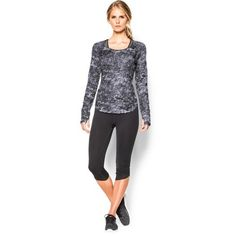 Under Armour Women\'s UA Fly-By Allover Printed Mesh Long Sleeve (1,740 INR) ❤ liked on Polyvore featuring activewear and activewear tops