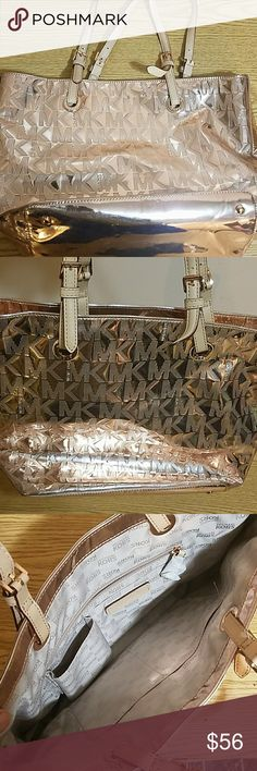 Michael Kors Pink Metallic Bag If Pink is your color, then this is the bag for you. Good condition. Double strap, inside zip pockets. Michael Kors Bags Shoulder Bags