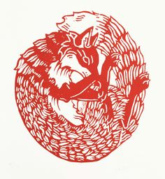 Red Fox Woodcut Print, lino, printmaking, relief, pattern, nature, wildlife, design, illustration