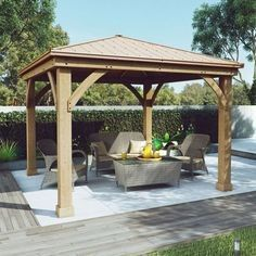 Wood Gazebo with Aluminum Roof by Yardistry. Expand your outdoor living space with this beautiful Wood Gazebo with Aluminum Roof by Yardistry. The stunning design features a Montana bronze aluminum roof, 6 in. Backyard Pavilion, Backyard Gazebo, Garden Gazebo, Pergola Patio, Pergola Kits, Backyard Landscaping, Gazebo Ideas, Gazebo Plans, Backyard Ideas