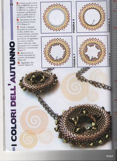Gioielli in tessitura di perle Nº 11 otc /nov 2010 - Anna Maria - Álbumes web de Picasa Seed Bead Necklace, Seed Bead Jewelry, Beading Projects, Beading Tutorials, Embroidery Jewelry, Beaded Embroidery, Peyote Beading Patterns, Beaded Jewelry Designs, Beading Techniques
