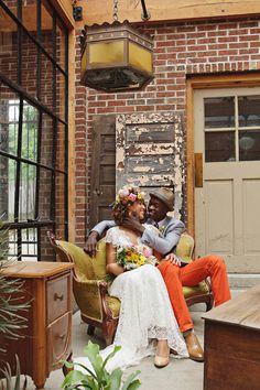 bride covered in florals + groom in orange pants! // photo by Sweet Monday Photography, flowers by Peacock Blooms Floral Design // View more: http://ruffledblog.com/late-summer-citrus-inspiration/