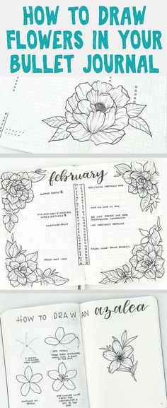 Bullet Journal Inspiration - Beautiful, easy to draw flower doodles that beautiful ANY bullet journal! Get tons of amazing ideas for tons of flowers drawings and find inspiration to decorate your bullet journal for spring! Bullet Journal Spreads, Bullet Journal Layout, Bullet Journal Inspiration, Bullet Journals, Art Journals, Easy Flower Drawings, Flower Drawing Tutorials, Easy Drawings, Drawing Flowers