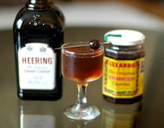 Remember the Maine:  • 2 oz. rye whisky  • ¾ oz. sweet vermouth  •2 tsp./ ⅓ oz. Cherry Heering or substitute  •absinthe (or pastis) in kitchen mister/sprayer  Garnish: Brandied or true maraschino cherry, and/or piece of lemon peel