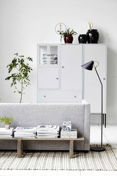 Rustic wooden bench * paired with grey and white | via: decordots