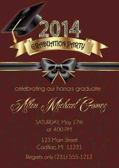 Graduation Invitation for girls Graduation Party Invitation High