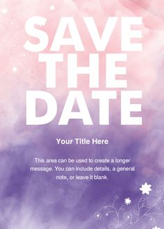 Purple and Coral Watercolor Save the Date designed by Carmia Cronje on pingg.com
