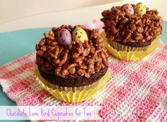 Chocolate Love Bird Cupcakes for Two   www.pinkrecipebox.com