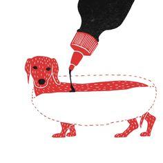 hot dog, Bloody Dairy by Min Liu, #gif illustration #animation
