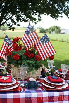 Patriotic Table - a solid red table cloth or red and white check might look better.  #redwhitebgosh