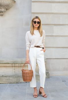 Working girl look.  All white casual outfit.