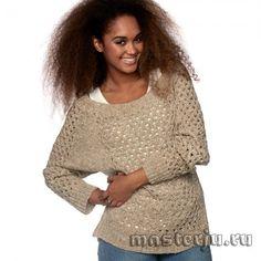 Джемпер с дырчатым узором Pulls, Crochet Top, Jean Jumper, Knitwear, Bell Sleeve Top, Pullover, Sewing, Knitting, Sweaters
