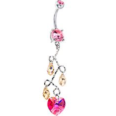 This would be perfect to wear on valentine's day! Cute Belly Rings, Dangle Belly Rings, Belly Button Jewelry, Belly Button Rings, Nose Ring Stud, Nose Rings, Bellybutton Piercings, Peircings, Cute Promise Rings
