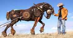 Genius Artist Welds Old Farming Equipment Together To Create Incredible Animal Sculptures