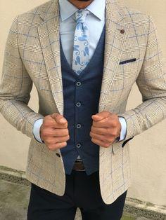 Slim-Match Plaid Go well with Vest Beige – brabion - Best Suit's Suit Combinations, Color Combinations For Clothes, Plaid Suit, Suit Vest, Mens Fashion Suits, Mens Suits, Fashion Night, Gentleman Style, Wedding Suits