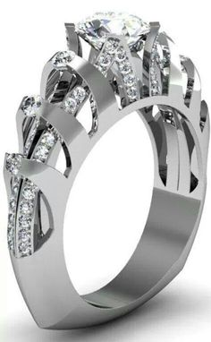 This takes jewelry to a whole new level - Platinum and diamond accented ring with round diamond center stone Stuller. Diamond Jewelry, Jewelry Rings, Jewelry Accessories, Fine Jewelry, Jewelry Design, Unique Jewelry, Jewlery, Engagement Ring Settings, Engagement Rings