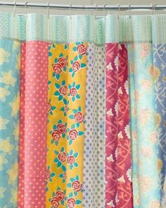 Girls' bath: Inspiration for DIY shower curtain pieced with vertical panels of vintage sheets