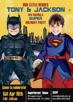 Siblings Batman Superman birthday invitation. Superheroes Joint birthday Invitation.   ALSO AVAILABLE IN ETSY: www.myheroathome.etsy.com #twinbrothersbirthdayinvitation #twinbrothersbirthdayideas #twinsuperheropartyideas #jointsuperheropartyideas #jointsuperherobirthdayinvitations   #batmanvssupermaninvitations  #batmanvssupermanparty #batmanbirthdayparty #batmanbirthdayinvitation #myheroathome