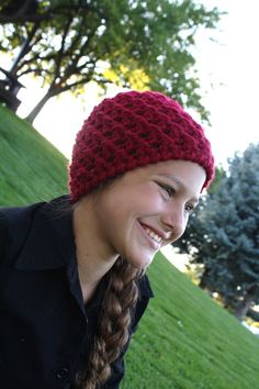 Crochet Red Thick Beanie